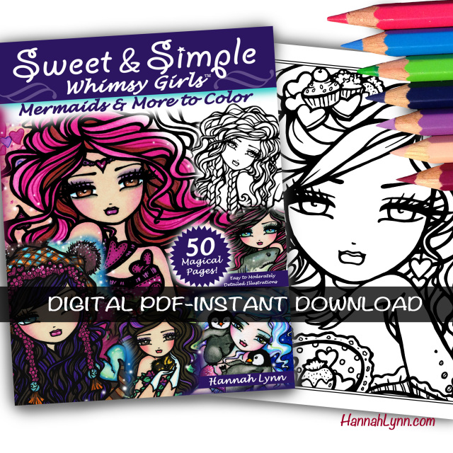 PDF Sweet & Simple Whimsy Girls Coloring Book--INSTANT DOWNLOAD