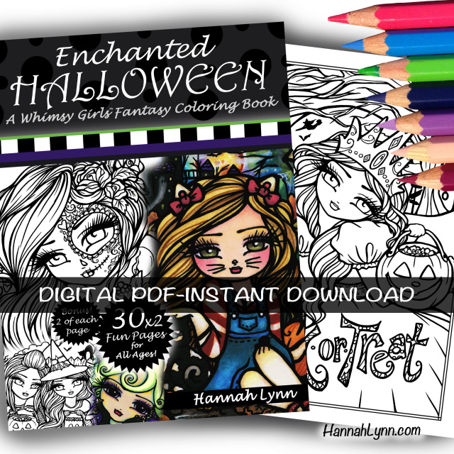 PDF Enchanted Halloween Coloring Book--INSTANT DOWNLOAD
