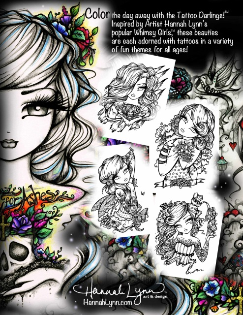 Pdf Tattoo Darlings An Inky Girls Coloring Book Instant Download