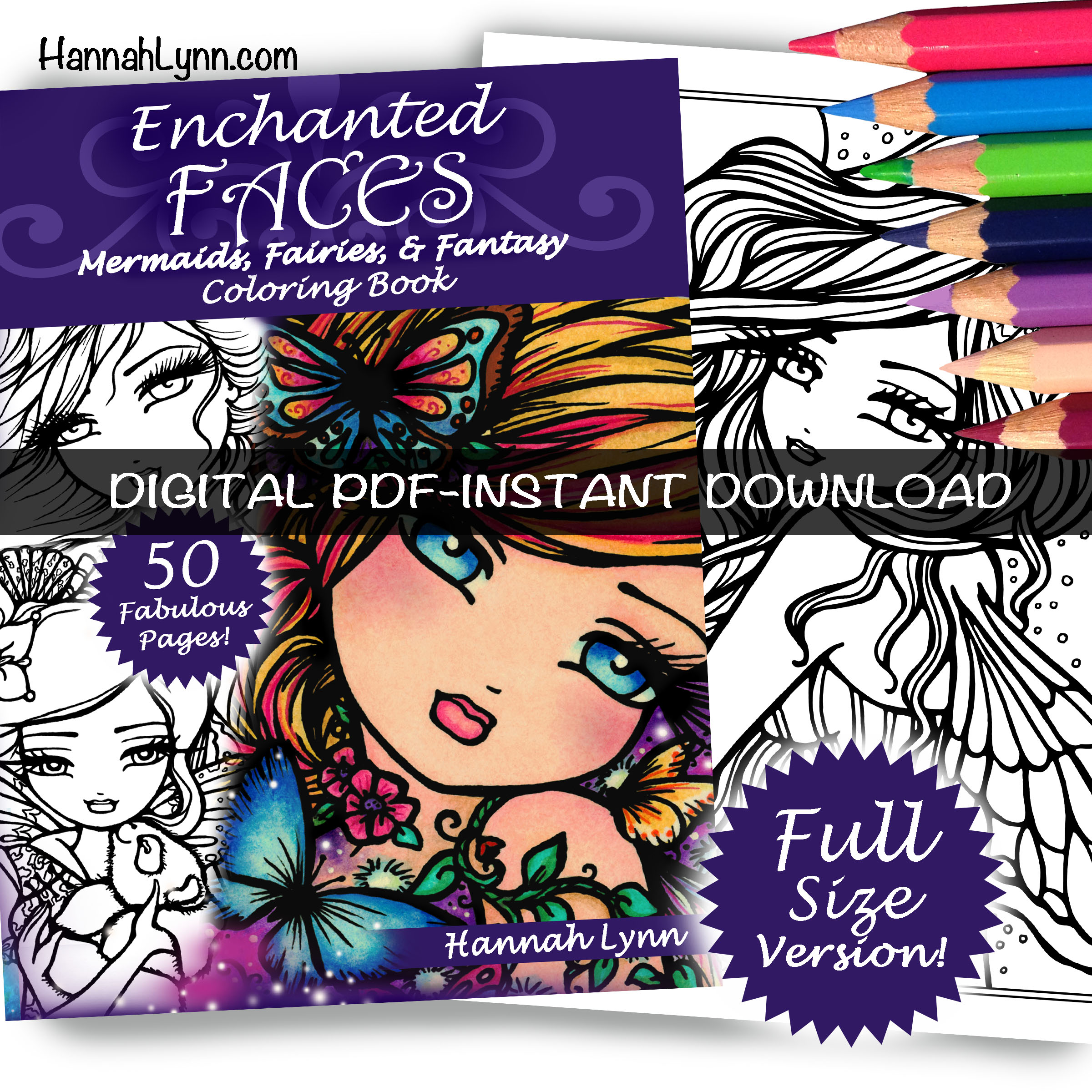 PDF Enchanted Faces Full Size Coloring Book INSTANT