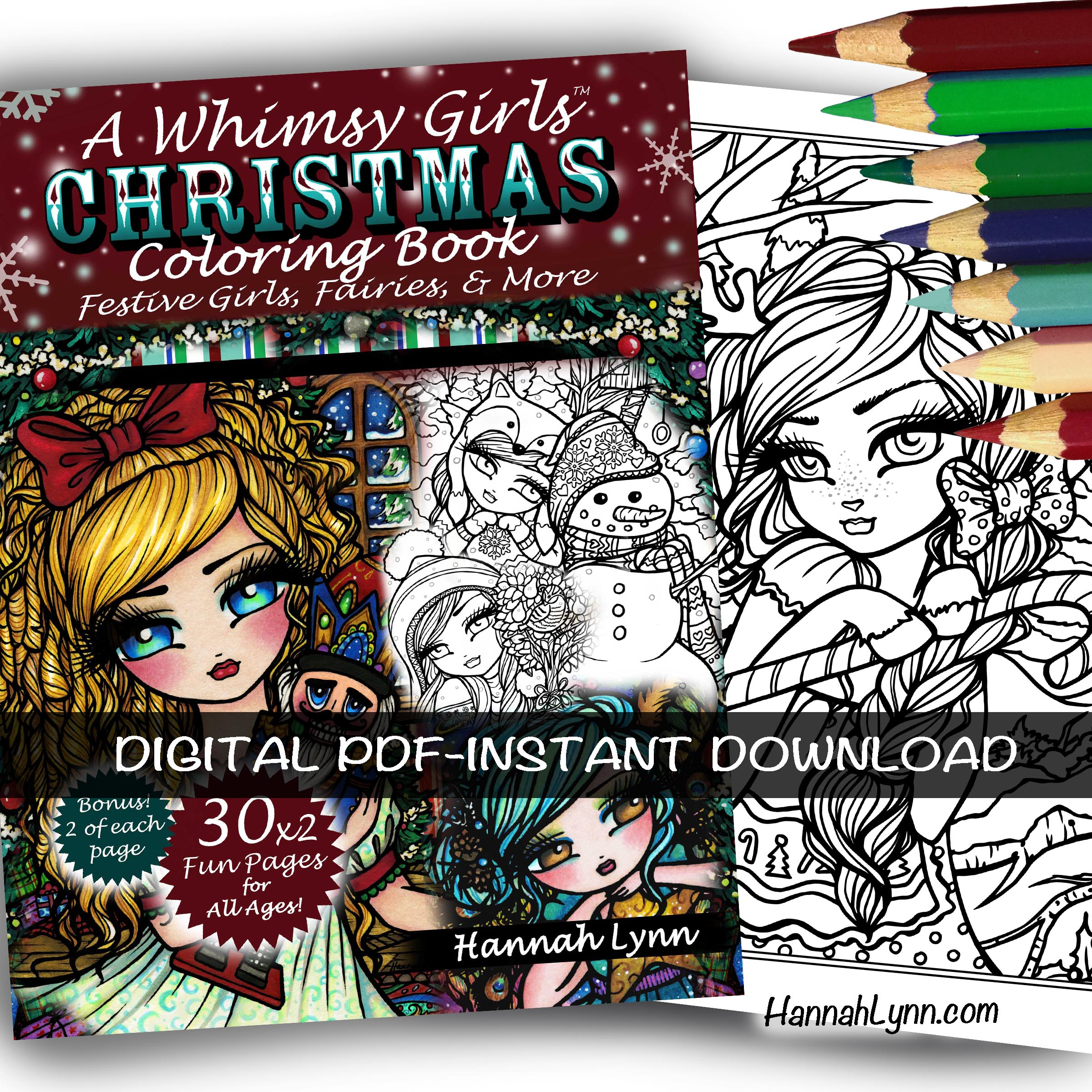 PDF A Whimsy Girls Christmas Coloring Book INSTANT DOWNLOAD