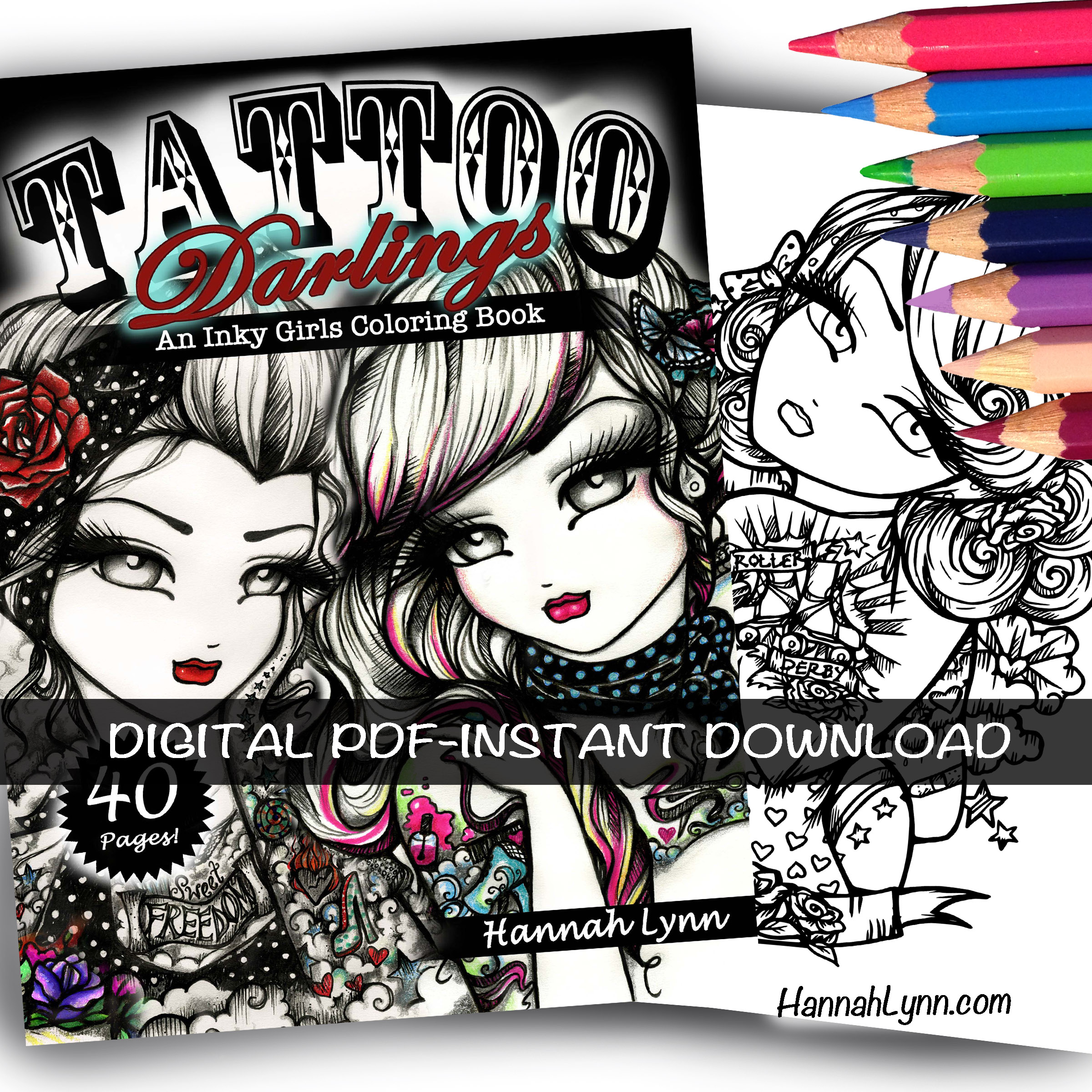 PDF Tattoo Darlings: An Inky Girls Coloring Book --Instant Download