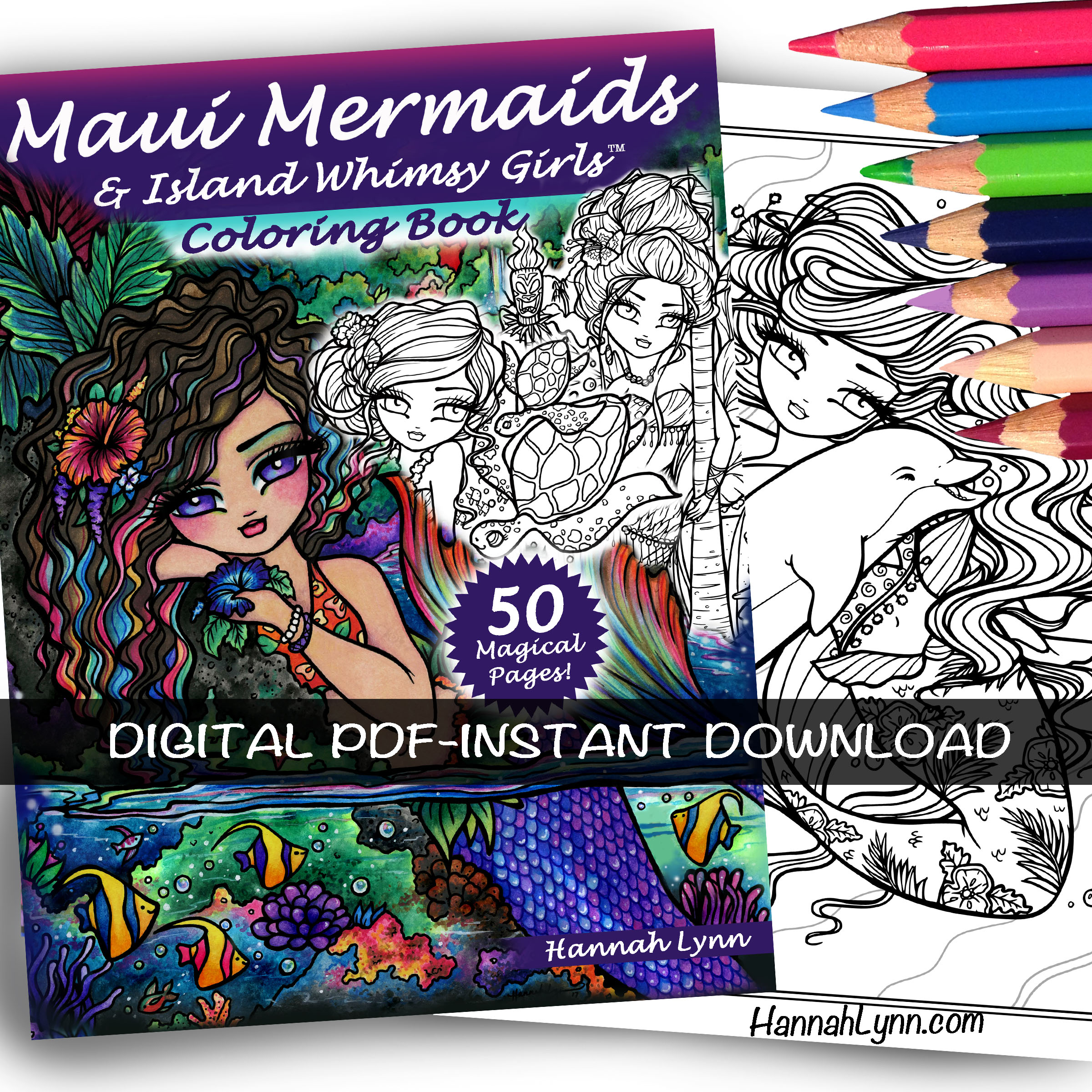 PDF Maui Mermaids Island Whimsy Girls Coloring Book INSTANT DOWNLOAD